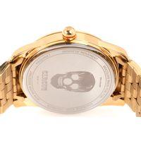 Relógio Analógico Masculino A.H Circus Caveira Dourado RE.MT.1171-1121.9