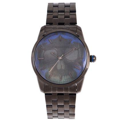 Relógio Analógico Masculino A.H Circus Caveira Ônix RE.MT.1171-0822