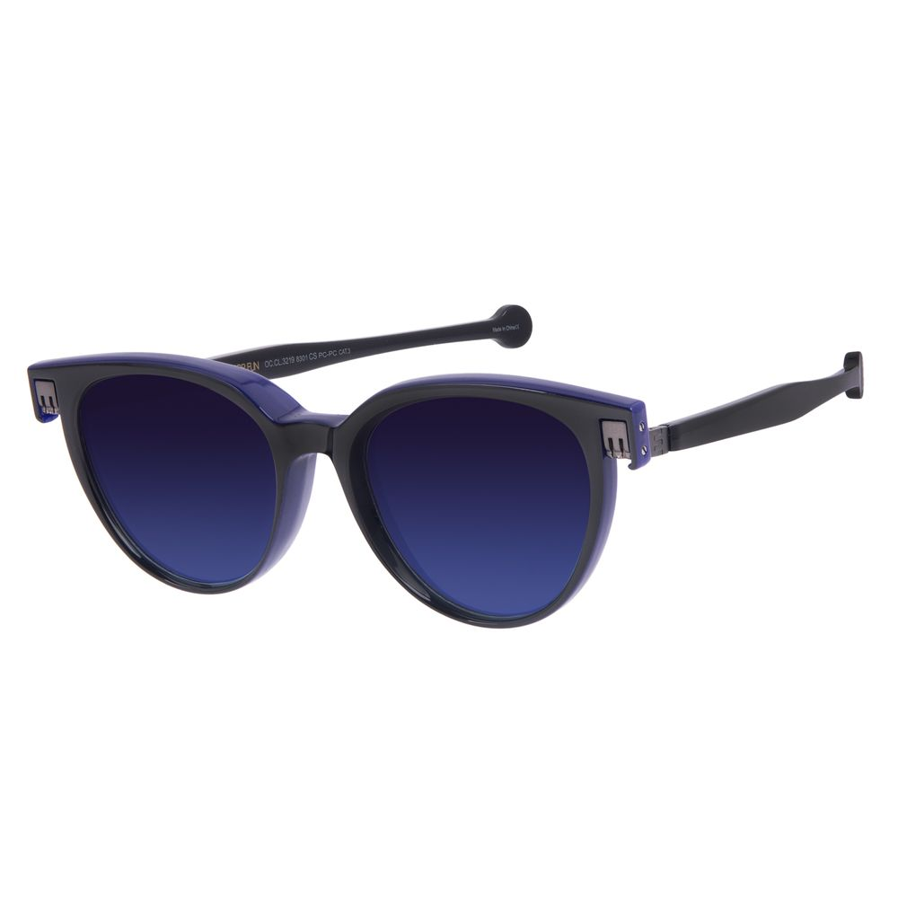 Óculos de Sol Unissex Reverse Redondo Classic Brilho Degradê Azul OC.CL.3219-8301