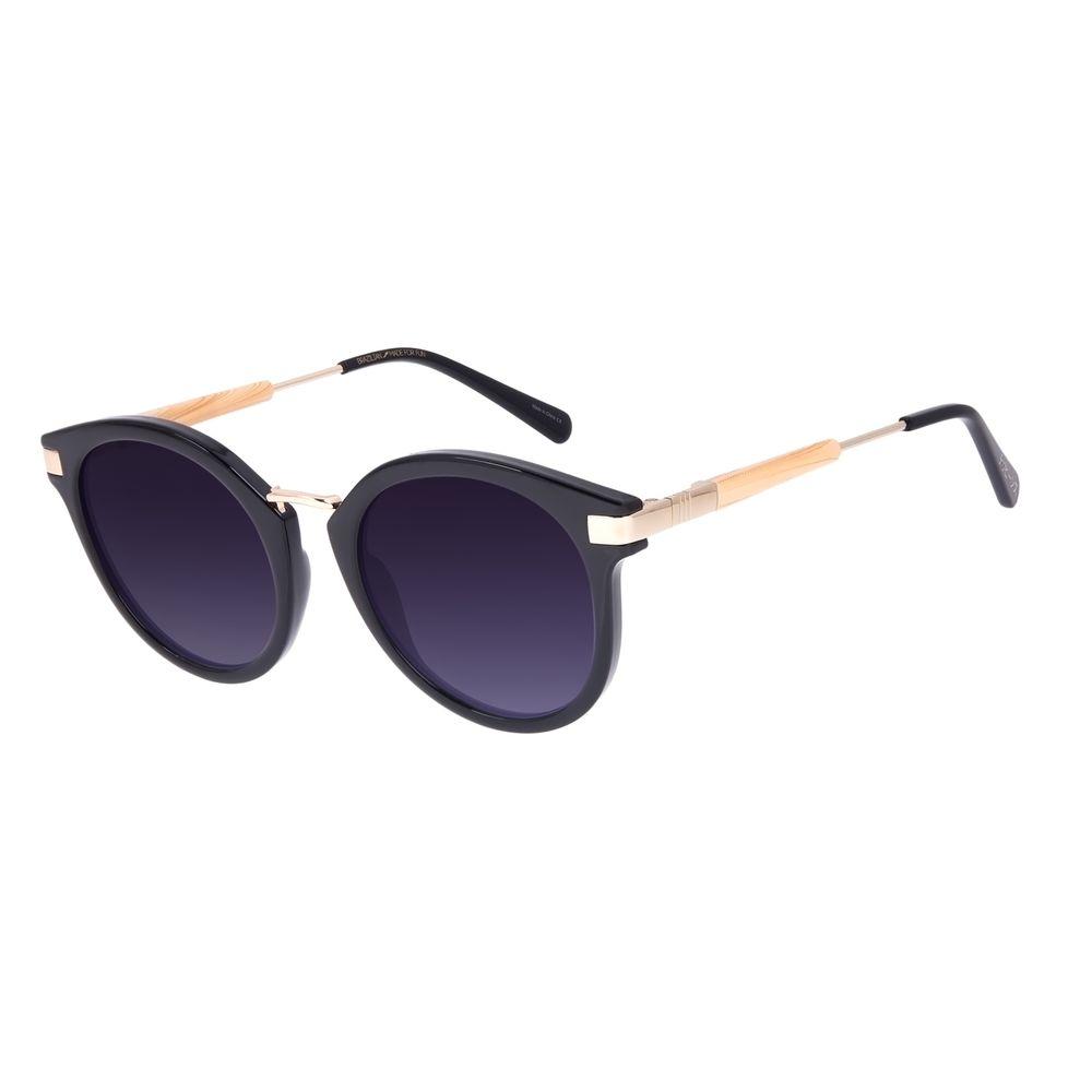 Óculos de Sol Feminino Tokyo Bambu Redondo Preto OC.CL.3078-2001