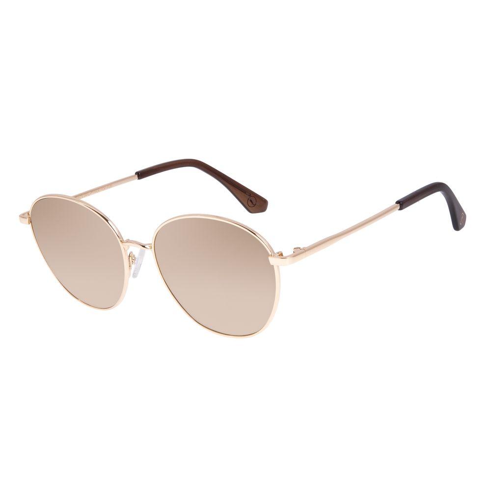 Óculos de Sol Unissex Chilli Beans Redondo Metal Brilho Degradê Marrom OC.MT.3046-2021