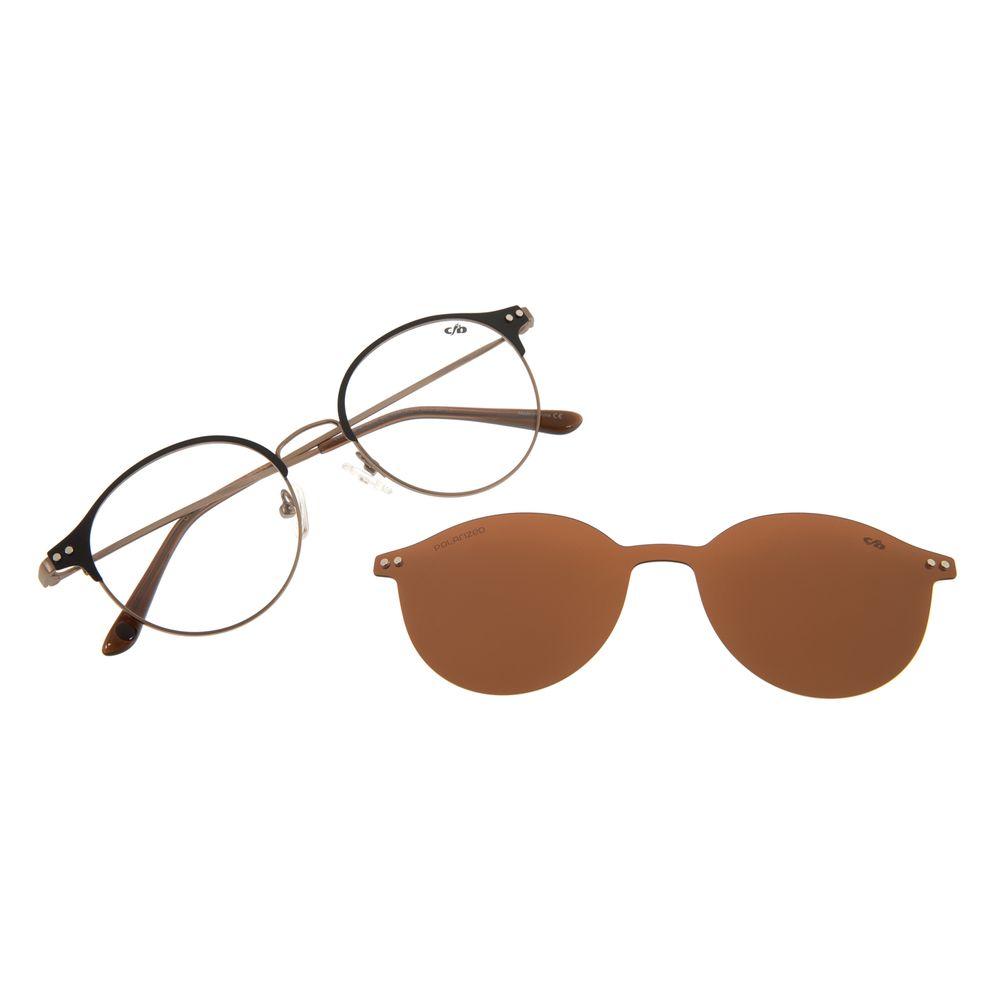 Armação Para óculos de Grau Feminino Chilli Beans Redondo Marrom Polarizado LV.MU.0349-0202