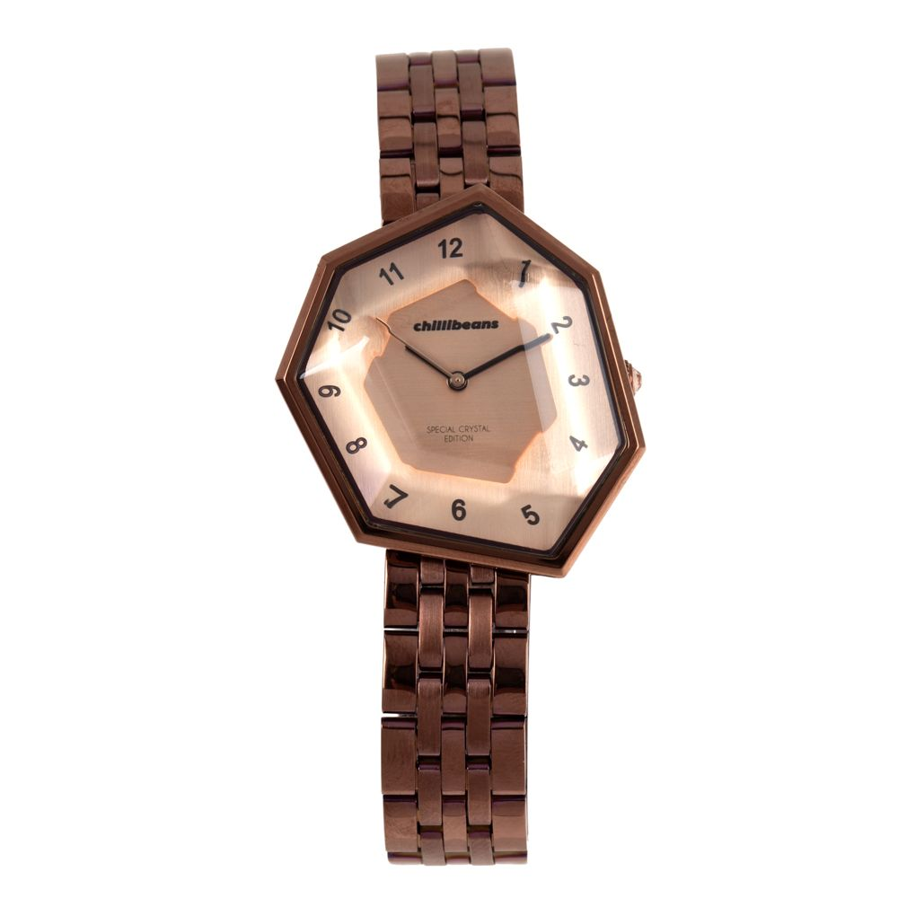 Relógio Analógico Feminino Chilli Beans Facetado Crystal Edition Marrom RE.MT.1045-9502