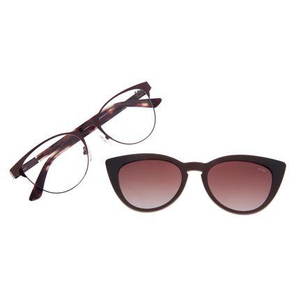 Armação Para Óculos de Grau Feminino Chilli Beans Multi Cat Polarizado Marrom Escuro LV.MU.0199-2047