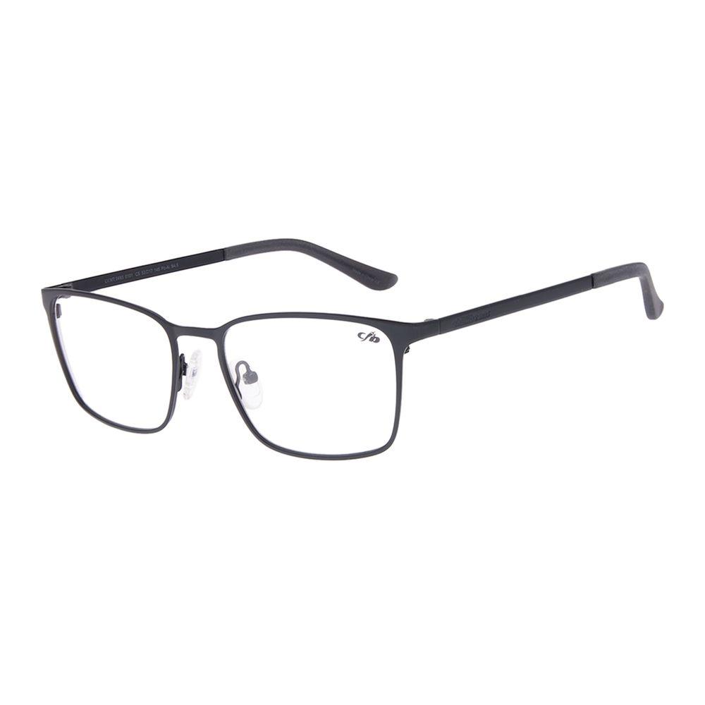 Armação Para Óculos de Grau Masculino Chilli Beans Quadrado Metal Fosco Preto LV.MT.0493-0101