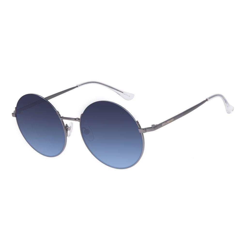 Óculos de Sol Feminino Chilli Beans Redondo Metal Casual Ônix OC.MT.3024-8322
