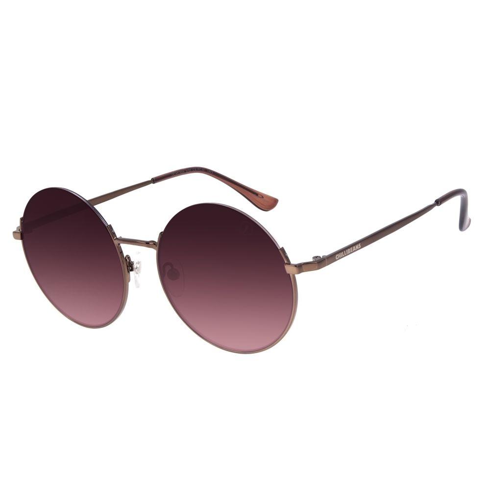 Óculos de Sol Feminino Chilli Beans Redondo Metal Casual Marrom OC.MT.3024-5702