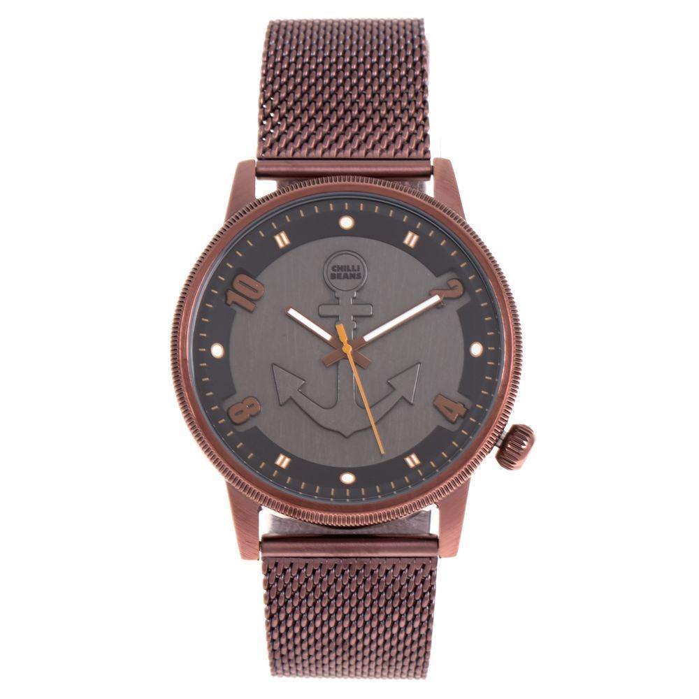 Relógio Analógico Masculino Mar.É Âncora Marrom Escuro RE.MT.1181-0202