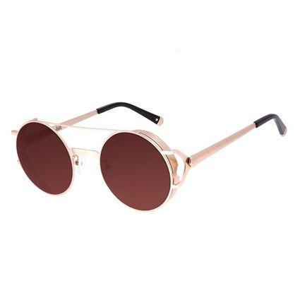 Óculos de Sol Unissex Alok Dia dos Namorados Redondo Flap Dourado OC.MT.3102-0221