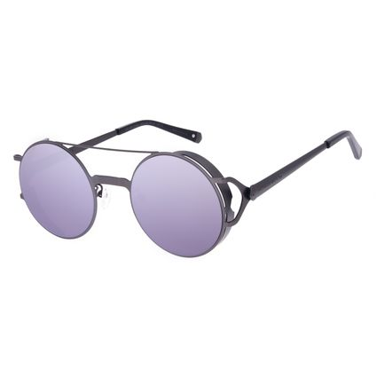 Óculos de Sol Unissex Alok Dia dos Namorados Redondo Flap Ônix OC.MT.3102-2222