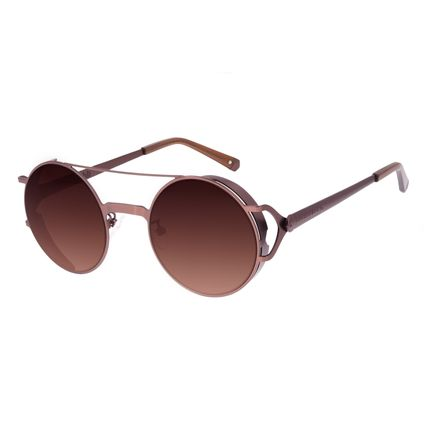 Óculos de Sol Unissex Alok Dia dos Namorados Redondo Flap Marrom OC.MT.3102-5702