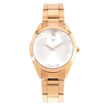 Relógio Analógico Feminino Swarovski Dia dos Namorados Facetado Dourado RE.MT.1192-0721
