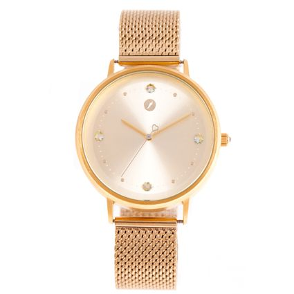 Relógio Analógico Feminino Swarovski Dia dos Namorados Cristais Dourado RE.MT.1099-2121
