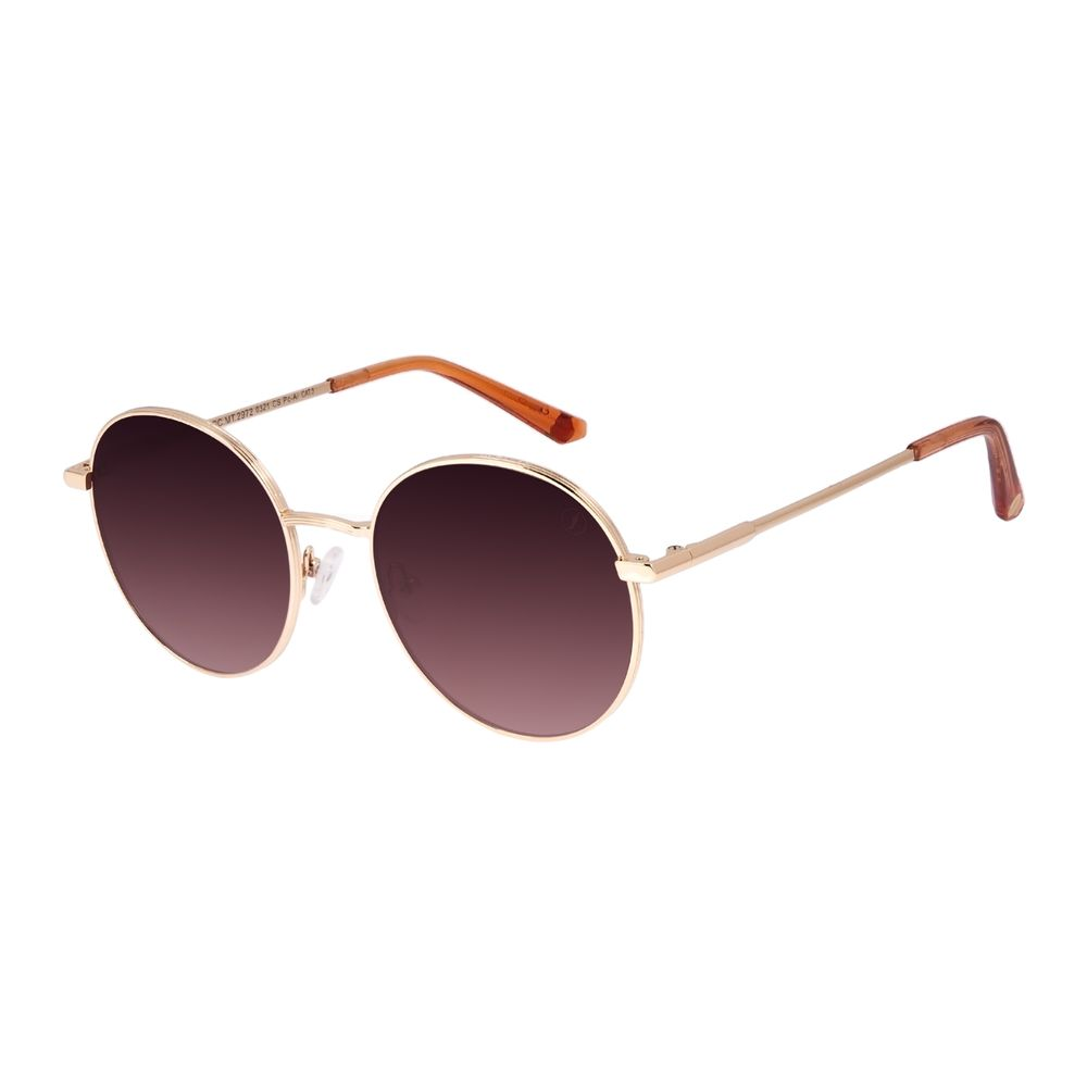 Óculos de Sol Feminino Chilli Beans Redondo Banhado a Ouro Dourado OC.MT.2972-0321