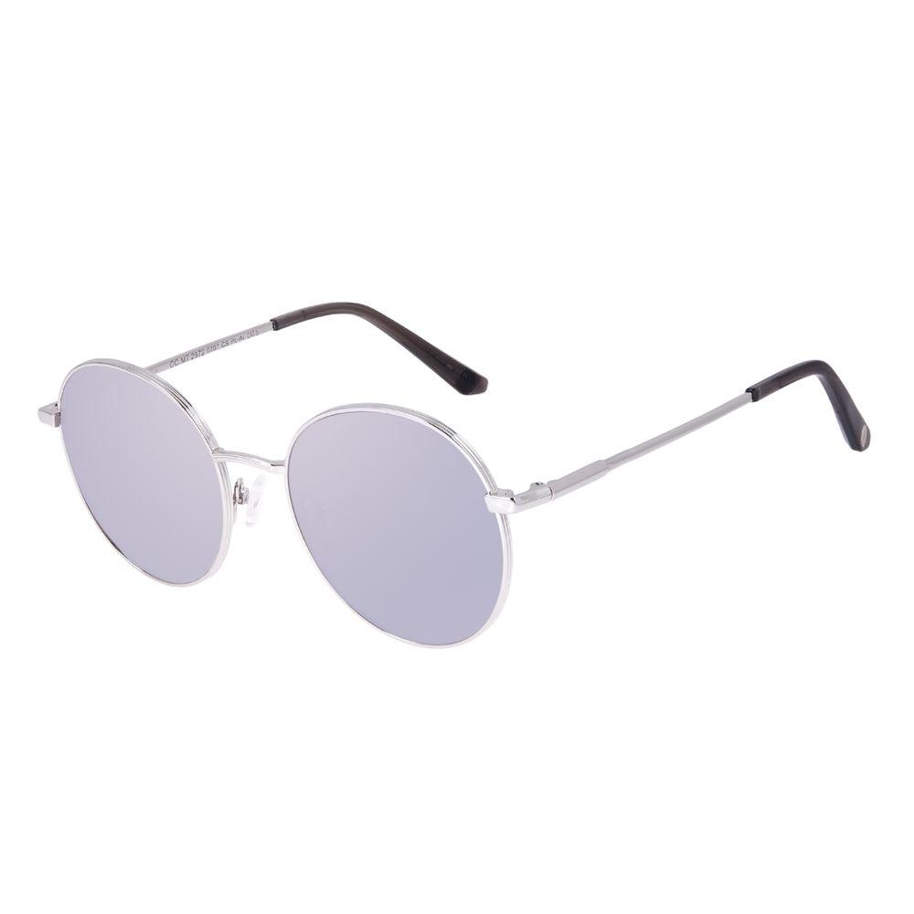 Óculos de Sol Feminino Chilli Beans Redondo Banhado a Ouro Prata OC.MT.2972-0707
