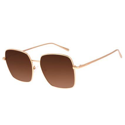 Óculos de Sol Feminino Chilli Beans Quadrado Banhado a Ouro Dourado OC.MT.3007-5721