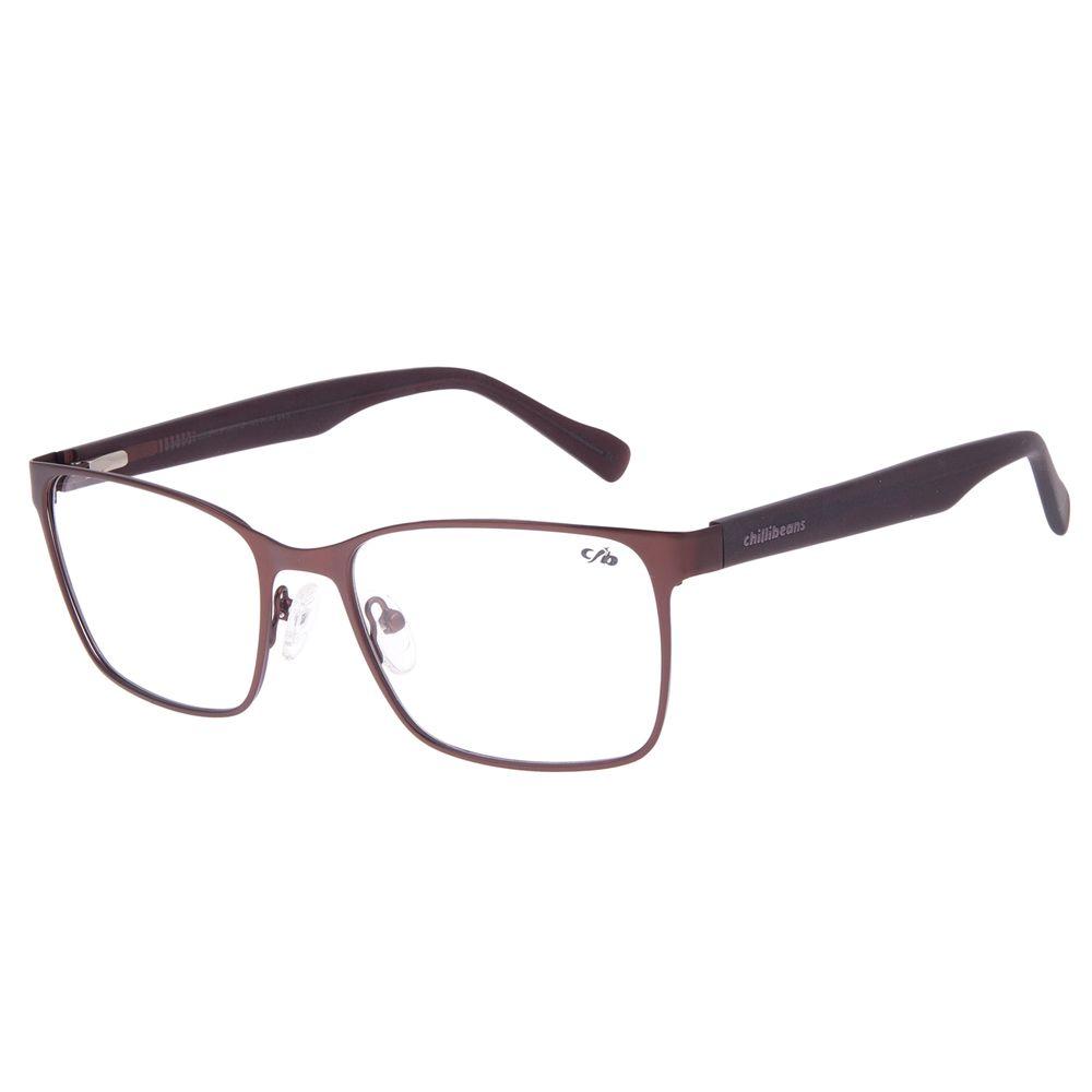 Armação Para Óculos de Grau Masculino Chilli Beans Quadrado Metal Fosco Marrom LV.MT.0483-0202