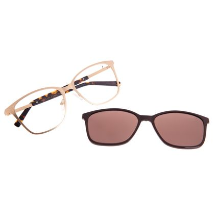 Armação Para Óculos De Grau Feminino Chilli Beans Essential Multi Quadrado Dourado Claro LV.MU.0521-0264
