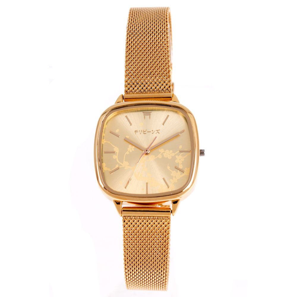 Relógio Analógico Feminino Tokyo Cerejeira Metal Dourado RE.MT.1086-2121