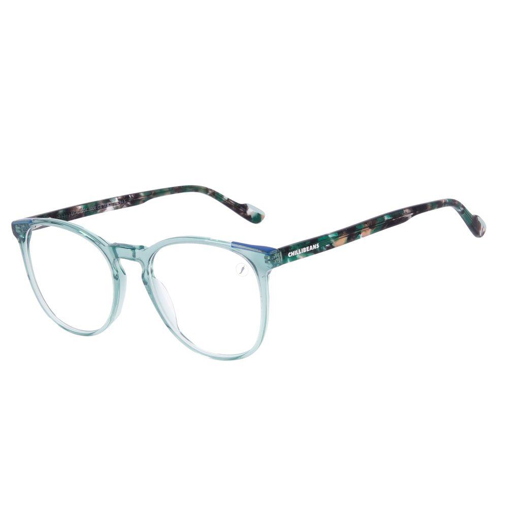 Armação Para Óculos de Grau Feminino Chilli Beans Redondo Azul Claro LV.AC.0704-5906