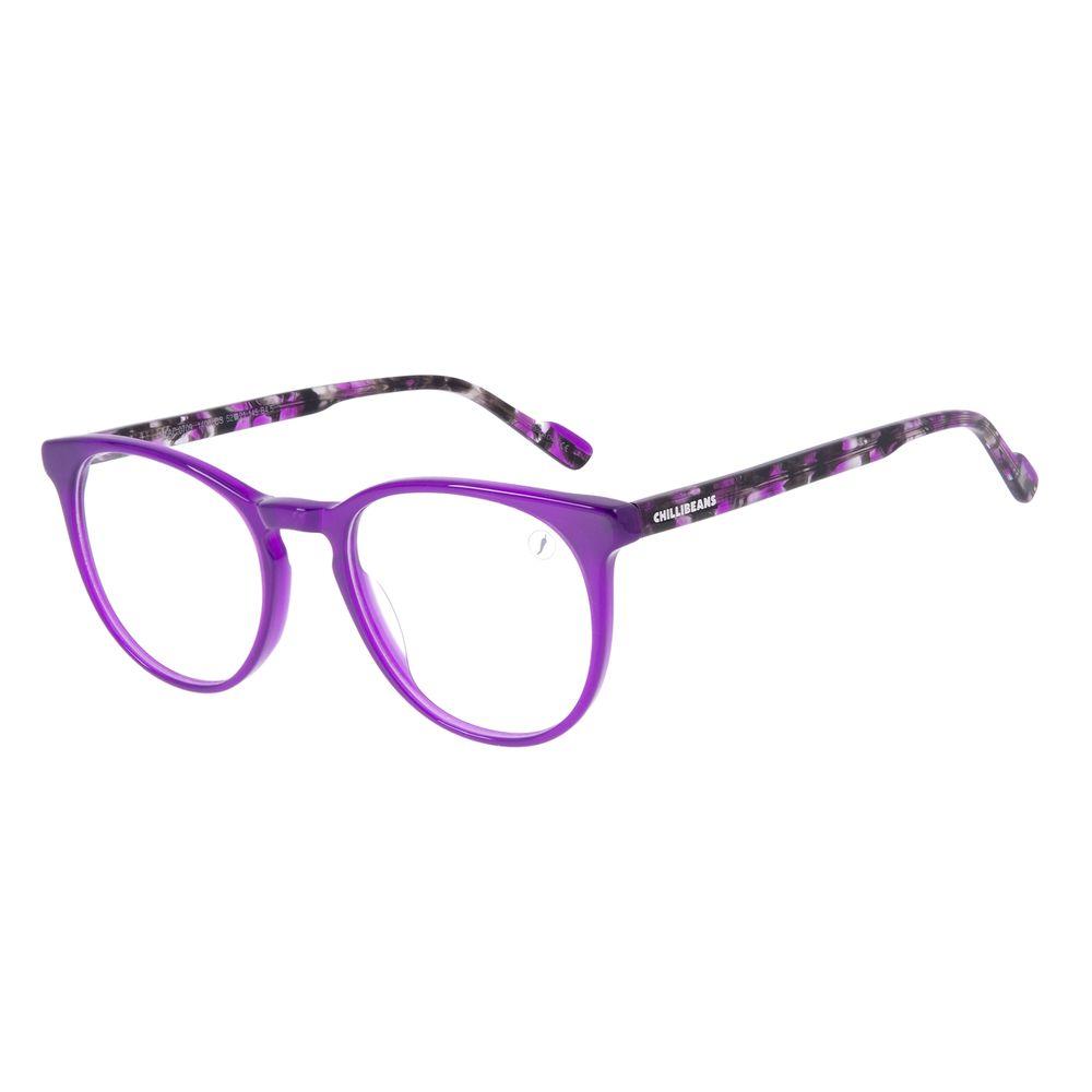 Armação Para Óculos de Grau Feminino Chilli Beans Redondo Acetato Roxo Tartaruga LV.AC.0709-1406