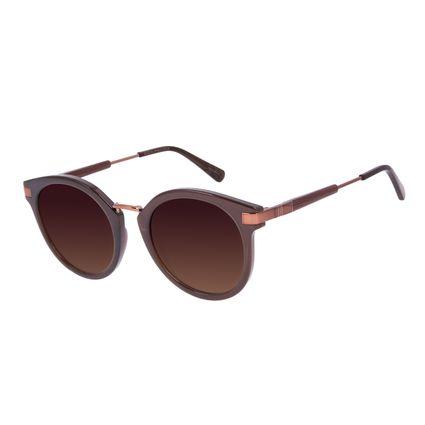 Óculos de Sol Feminino Tokyo Bambu Redondo Marrom OC.CL.3078-5702