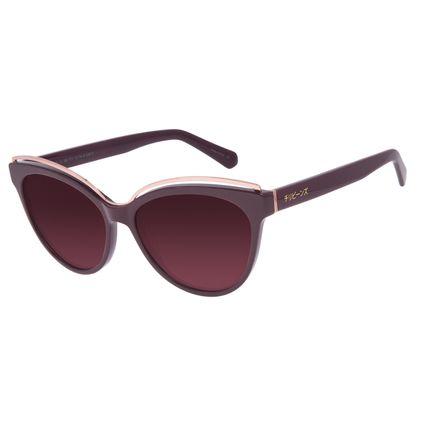 Óculos de Sol Feminino Tokyo Leque Cat Polarizado Vinho OC.CL.3086-5717