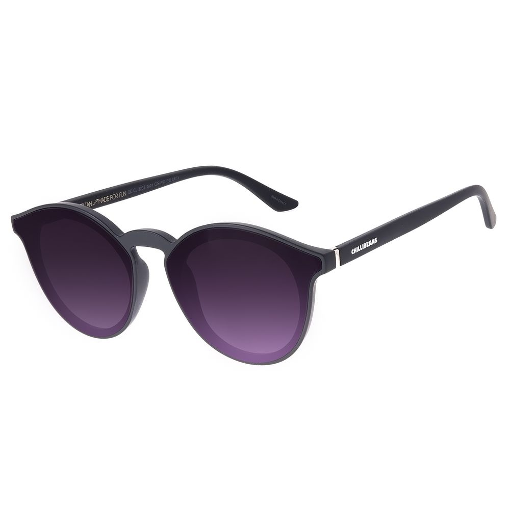 Óculos de Sol Unissex Chilli Beans Redondo Preto OC.CL.3235-2001