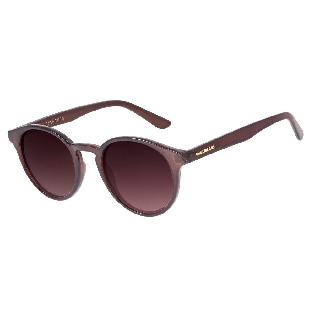 Óculos de Sol Unissex Chilli Beans Casual Redondo Degradê Marrom OC.CL.3240-5702