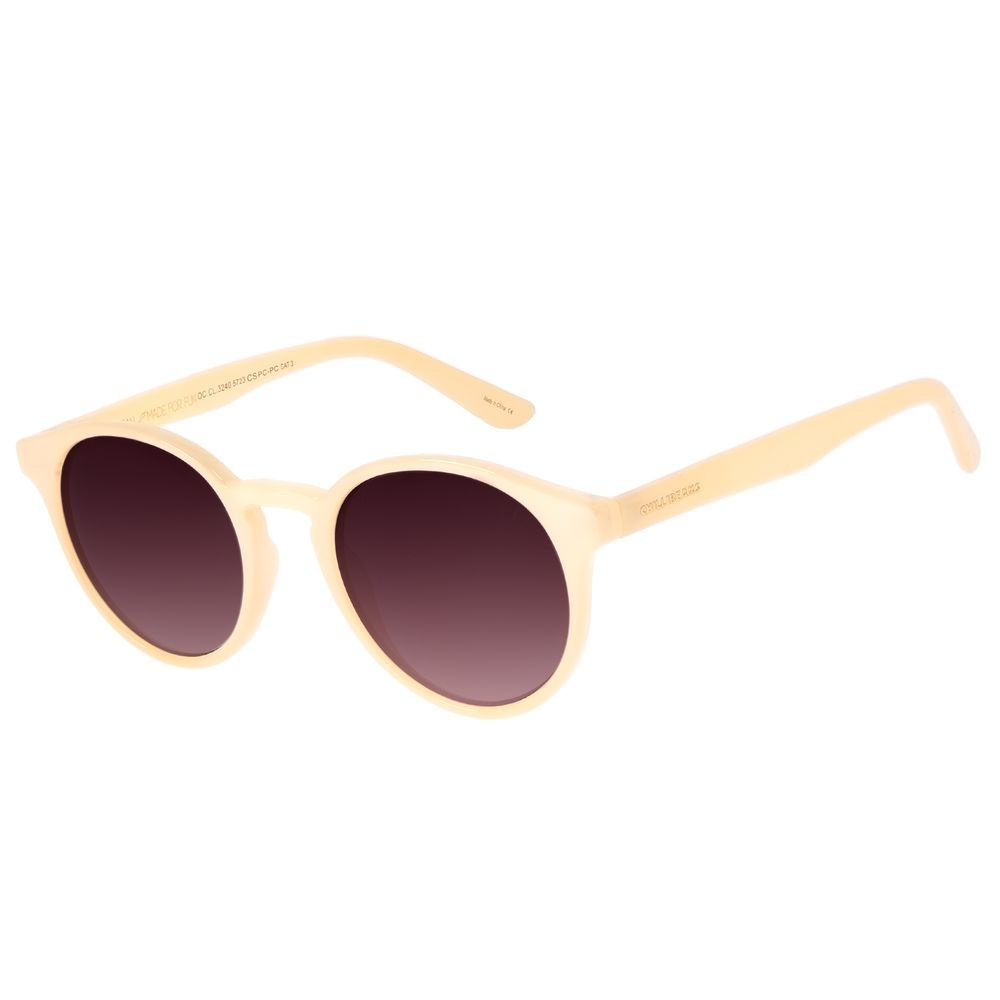 Óculos de Sol Unissex Chilli Beans Casual Redondo Bege OC.CL.3240-5723