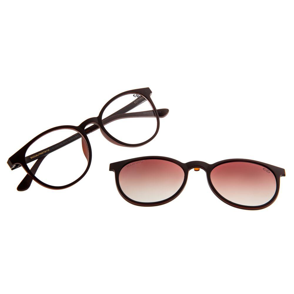 Armação Para Óculos de Grau Feminino Chilli Beans Multi Polarizado Redondo Marrom LV.MU.0259-5702