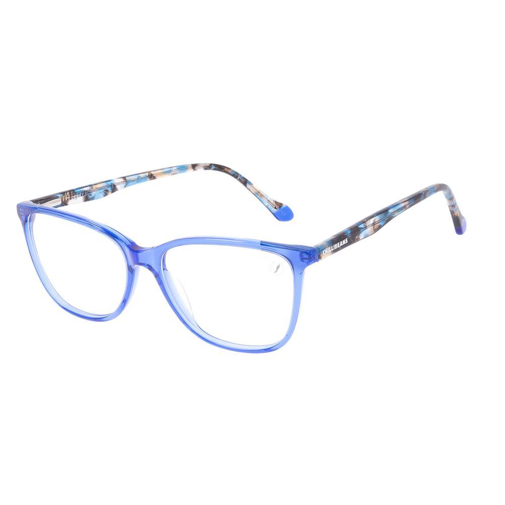 Armação Para Óculos de Grau Feminino Chilli Beans Quadrado Azul Tartaruga LV.AC.0705-0806