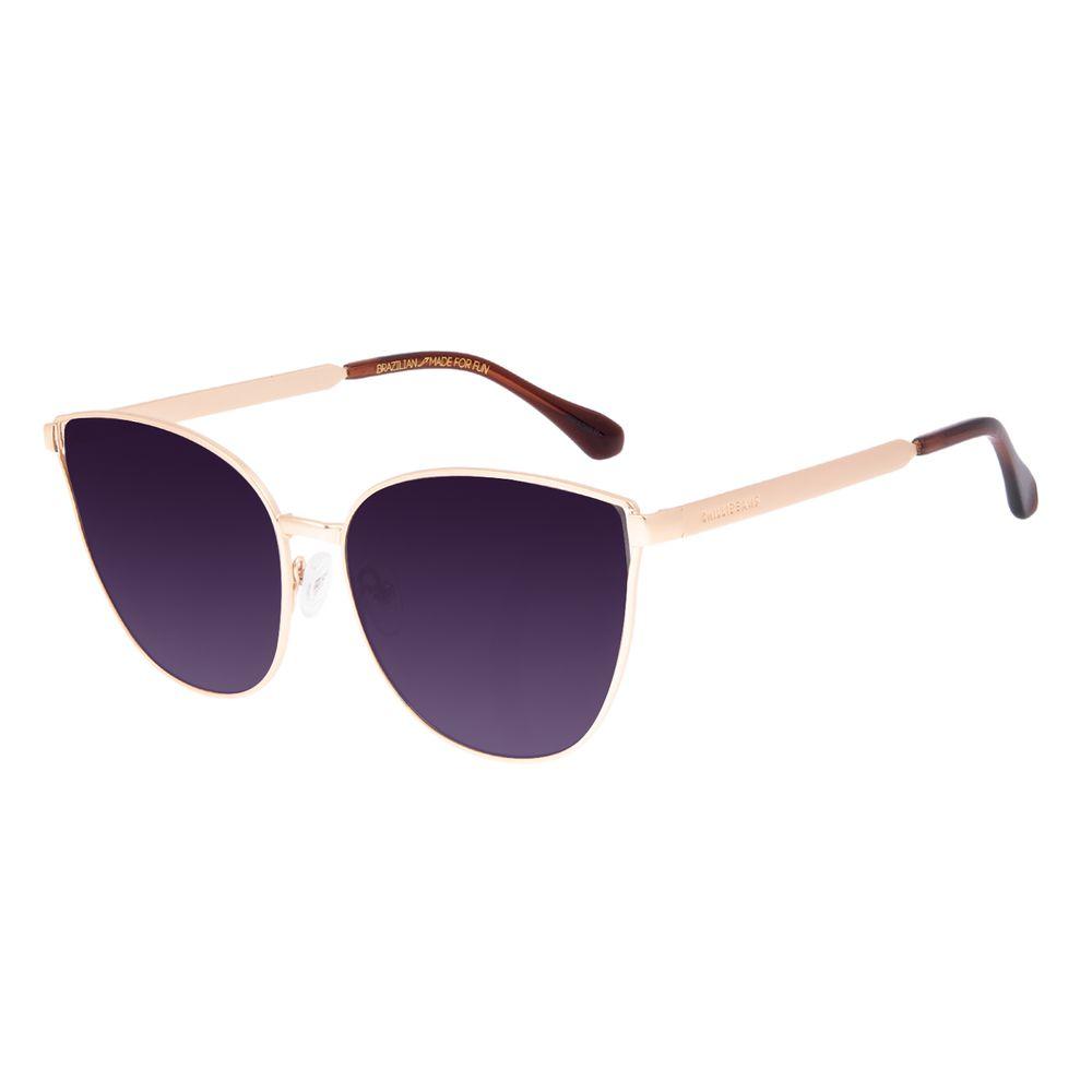 Óculos de Sol Feminino Chilli Beans Cat Metal Fosco Dourado OC.MT.3061-2021