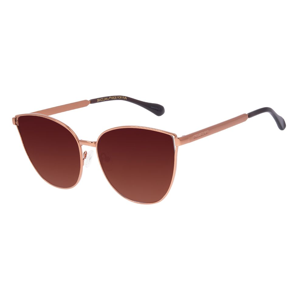 Óculos de Sol Feminino Chilli Beans Cat Metal Fosco Marrom OC.MT.3061-5702