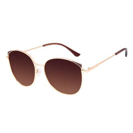 Óculos de Sol Feminino Chilli Beans Redondo Degradê Marrom Banhado a Ouro OC.MT.3062-5721