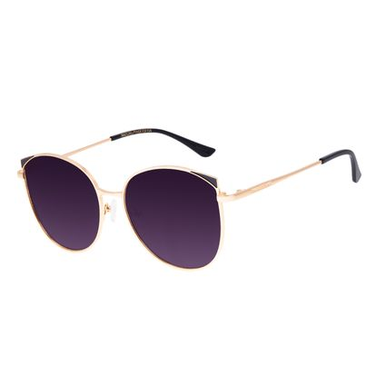 Óculos de Sol Feminino Chilli Beans Redondo Dourado Banhado a Ouro OC.MT.3062-2021
