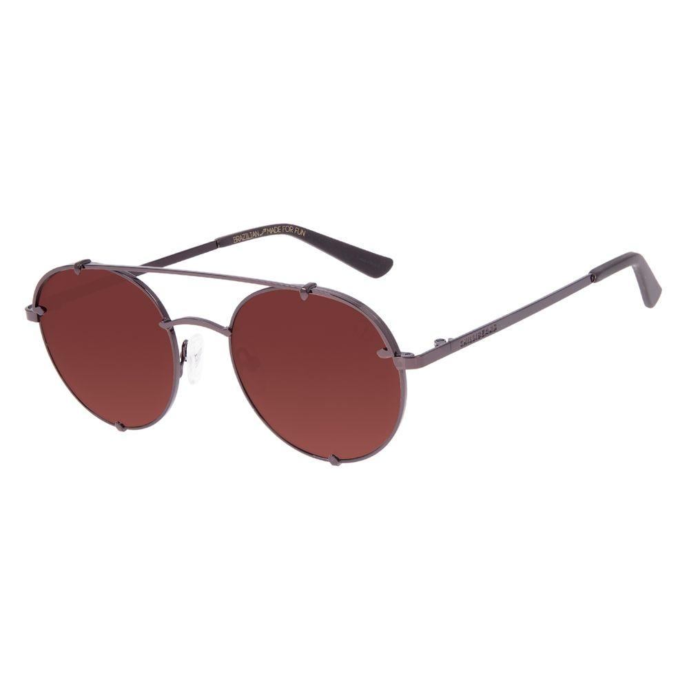 Óculos de Sol Unissex Chilli Beans Redondo Marrom OC.MT.3064-0202