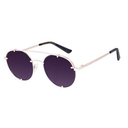 Óculos de Sol Unissex Chilli Beans Redondo Dourado OC.MT.3064-2021