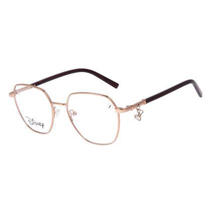 Armação Para Óculos de Grau Feminino Disney Minnie Mouse Quadrado Bege LV.MT.0502-2323
