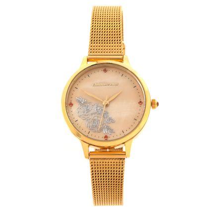 Relógio Analógico Feminino Corrida Floral Madrepérola Dourado RE.MT.1103-2121
