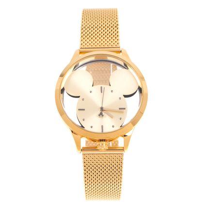 Relógio Analógico Feminino Disney Mickey Mouse Translúcido Dourado RE.MT.1174-2121