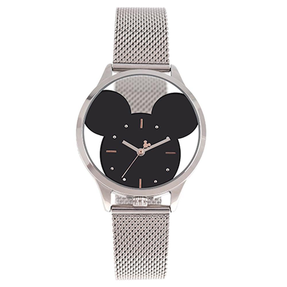 Relógio Analógico Feminino Disney Mickey Mouse Translúcido Prata RE.MT.1174-0707