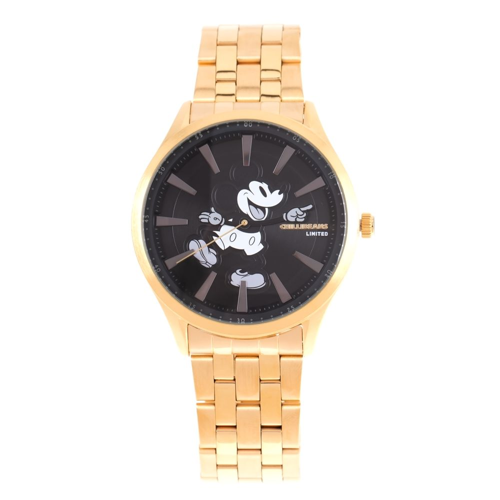 Relógio Analógico Masculino Disney Mickey Mouse Mãozinha Metal Dourado RE.MT.1189-0121