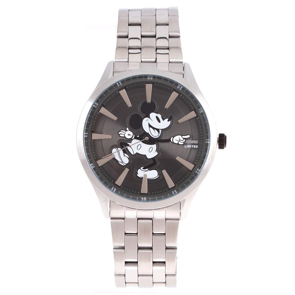 Relógio Analógico Masculino Disney Mickey Mouse Mãozinha Metal Prata RE.MT.1189-2207