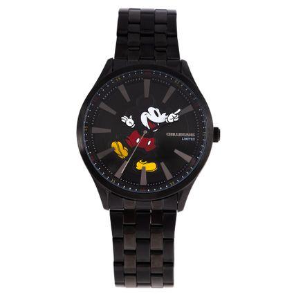 Relógio Analógico Masculino Disney Mickey Mouse Mãozinha Metal Preto RE.MT.1189-0101