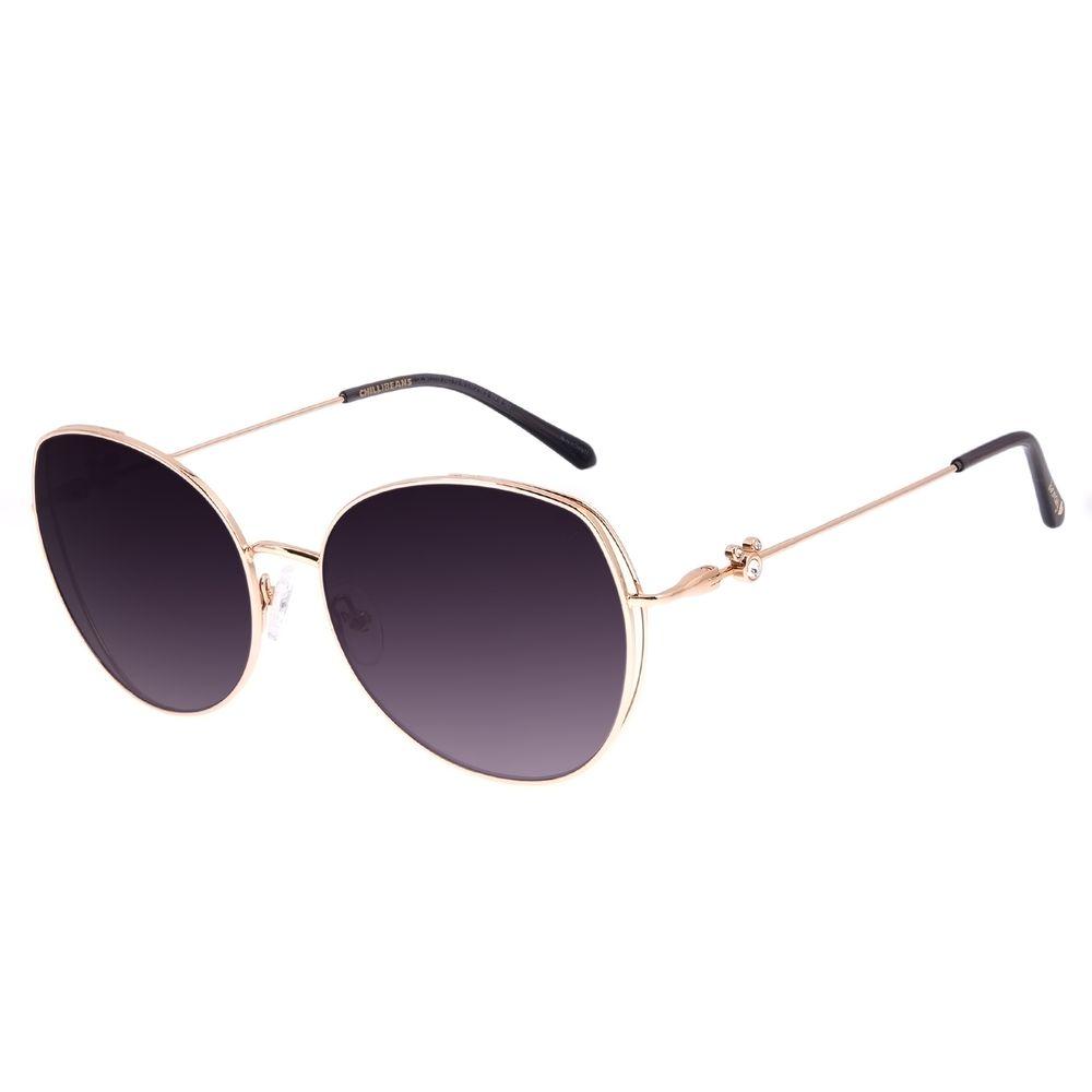 Óculos de Sol Feminino Disney Mickey Mouse Redondo Dourado OC.MT.3116-2021