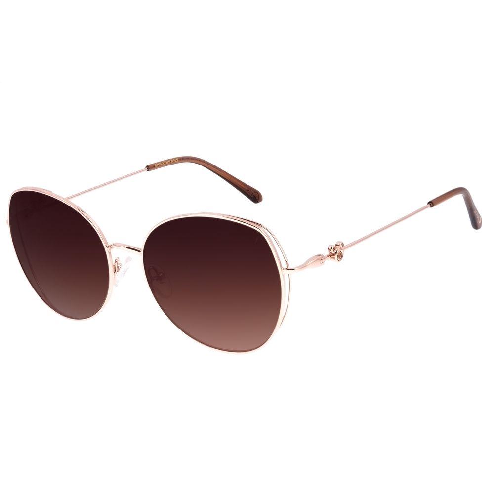 Óculos de Sol Feminino Disney Mickey Mouse Redondo Degradê Marrom OC.MT.3116-5795