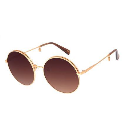 Óculos de Sol Feminino Disney Minnie Mouse Redondo Flap Banhado a Ouro Degradê Marrom OC.MT.3117-5721