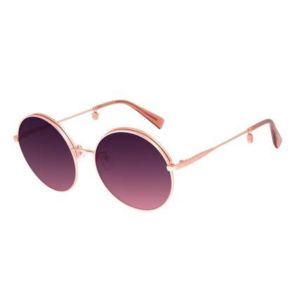 Óculos de Sol Feminino Disney Minnie Mouse Redondo Flap Banhado a Ouro Rosé OC.MT.3117-9595