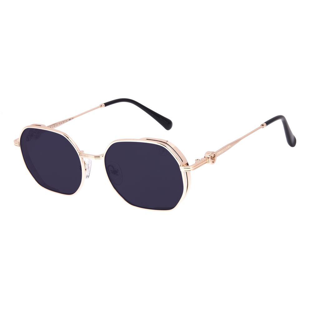 Óculos de Sol Unissex Disney Mickey Mouse Octogonal Flap Dourado OC.MT.3118-0121